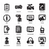 Set of Video call, Headphones, News reporter, Voice recorder, Smartphone, Monitor, Info, camera, Clipboard icons. Set Of 16 simple  icons such as Video call Royalty Free Stock Photos