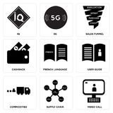 Set Of 9 simple  icons. Such as video call, supply chain, commodities, user guide, french language, cashback, sales funnel, 5g, IQ, can be used for mobile, web Stock Photos