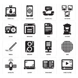 Set of Video player, Open book, Satellite, Server, Pencil, File, Radio, Phone call, call icons. Set Of 16 simple  icons such as Video player, Open book, Laptop Royalty Free Stock Photos