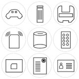 Set Of 9 simple  icons. Such as visitcard, certificate, folder, controller, cylinder, wifi, mask, trash bin, car, can be used for mobile, web UI Royalty Free Stock Photos