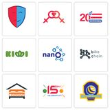 Set Of 9 simple  icons such as volleyball tournament, 15 years celebration, lodging. Bike chain, nano, kiwi, 20 anniversary, lesbian, drama, can be used for Royalty Free Stock Image