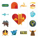 Set of volunteer fire department, bullshit, taksi, plumber, nova, qf, free bear, neurosurgery, fishing team icons. Set Of 13 simple  icons such as volunteer fire Royalty Free Stock Images
