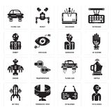Set of Vr glasses, Ar Jet pack, Flying car, Drone, Humanoid, Robot, Hologram, car icons. Set Of 16 simple  icons such as Vr glasses, Ar Panoramic view, Jet pack Stock Photos