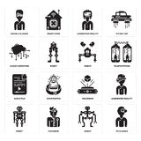 Set of Vr glasses, Robot, Hologram, Audio file, Cloud computing, Augmented reality, Google glasses icons. Set Of 16 simple  icons such as Vr glasses, Robot Stock Image