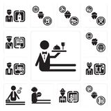 Set of Waiter, Support, Firefighter, call center, Businessman, Scientist, Director, Programmer, Postman icons. Set Of 13 simple  icons such as Waiter, Support Royalty Free Stock Images