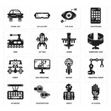 Set of Wi gloves, Robot, Keyboard, Rocket, Drone, Tank, Eye scan, Flying car icons. Set Of 16 simple  icons such as Wi gloves, Robot, Teleportation, Keyboard Stock Images