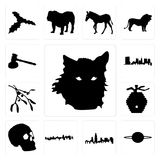 Set of wolf face outline on white background, saturn illinois state cuba background icons Stock Photography