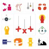 Set of xxx, hiker, fire hydrant, dab, grammar, shepherd, folded hands, order form icons. Set Of 13 simple  icons such as xxx, hiker, fire hydrant, dab, grammar Royalty Free Stock Photo