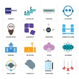Set of xxx, order form, travel agent, orchid, municipal, electric meter, buffering, grammar icons. Set Of 16 simple  icons such as xxx, order form, car dealer Stock Photo