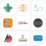 Set Of 9 simple  icons such as 20 year, judicial, dance studio. Tiara, made in america, handicapped, secretary, lux, medical marijuana, can be used for mobile Royalty Free Stock Photography