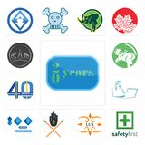 Set of 20 year, safety first, lux, tribe, 100 year anniversary, secretary, 40 years, moose, tiara icons. Set Of 13 simple  icons such as 20 year, safety first Royalty Free Stock Image