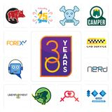 Set of 30 year, 100 year anniversary, lesbian, rhino, unemployment, nerd, helpdesk, cab service, icons. Set Of 13 simple  icons such as 30 year, 100 year Royalty Free Stock Photos