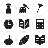 Set Of 9 simple  icons. Such as Yearbook, American football, Apple, Writing, Homework, Clock, Pom pom, Carpentry, Graduate, can be used for mobile, web UI Royalty Free Stock Image