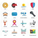 Set of 50 years anniversary, hotel, doctor, hookah, stag head, 100 year lodging, rising sun, bagel icons. Set Of 16 simple  icons such as 50 years anniversary Royalty Free Stock Photo