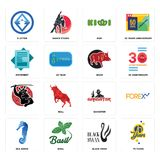 Set of 70 years, black swan, sea horse, gangster, , boar, statement, kiwi, 3 letter icons. Set Of 16 simple  icons such as 70 years, black swan, basil, sea horse Stock Photography