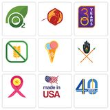 Set Of 9 simple  icons such as 40 years, made in usa, breast cancer ribbon. Tribe, icecream, gluten free, 30 year, sparta, oxygen, can be used for mobile, web Royalty Free Stock Photo