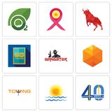 Set Of 9 simple  icons such as 40 years, rising sun, towing. Cubic, gangster, 50 year, bull, breast cancer ribbon, oxygen, can be used for mobile, web Royalty Free Stock Images
