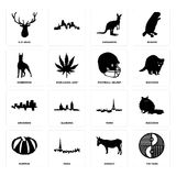 Set of yin yang, donkey, pumpkin, paris, arkansas, football helmet, doberman, kangaroo, elk head icons. Set Of 16 simple  icons such as yin yang, donkey, paris Royalty Free Stock Images