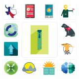 Set of zipper, free brain, sunday school, montain, extend, hoopoe, upgrade, service dog, sector icons. Set Of 13 simple  icons such as zipper, free brain, sunday Stock Images