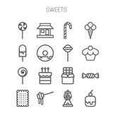 Set of simple icons with sweets and candis Royalty Free Stock Photo