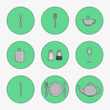 Set of simple icons for utensils spoon Royalty Free Stock Photos