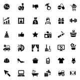 Set of 36 simple icons for web site or shop. Big set of 36 simple black icons for web site or shop Stock Images