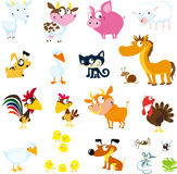 Set of simple images of farm animals - vector Stock Photography