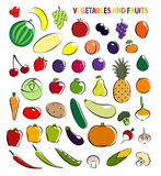 Set of simple images fruit and vegetables Stock Images