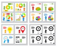 Set of simple infographics from stylized figure of people man and pie charts, graphs. For presentation design, annual report on financial theme. Colorful Royalty Free Stock Photos