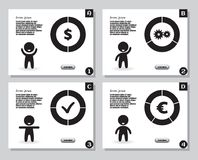 Set of infographics from stylized figure of man and pie charts, graphs. For presentation, annual report. Set of simple infographics from stylized figure of Stock Photo