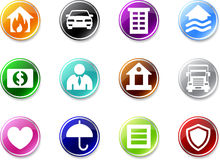 Set of simple insurance icons. Royalty Free Stock Photo