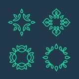 Set of simple line art monogram logo design Royalty Free Stock Photos