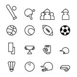 Set of simple line  sport icons vector illustration Royalty Free Stock Photography