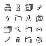 Set of simple linear icons on white background Royalty Free Stock Photo