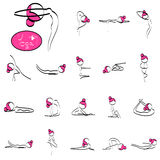 Set of simple lines of cute yoga symbol Stock Image
