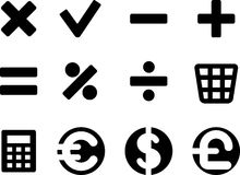 Set of simple mathematical symbol. Royalty Free Stock Photography