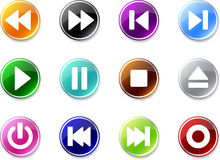 Set of simple Media buttons icons. Royalty Free Stock Photo