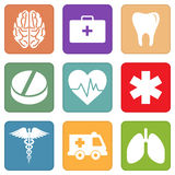 Set of simple medical icons on a white background Stock Photo