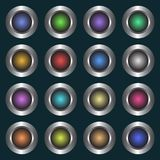A set of simple, metallic buttons. 16 different color gradient variations. Isolated on a dark background Royalty Free Stock Images