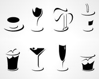 Set of simple minimal drink icons Stock Images