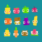 Set of simple minimal flat fruit characters Royalty Free Stock Image