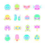 Set of simple minimal flat monster characters Stock Images
