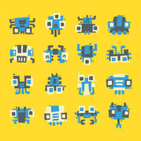 Set of simple minimal flat robot characters Stock Photo