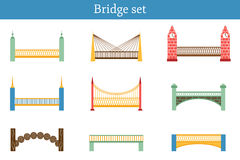 Set of simple modern colorful bridge icons Royalty Free Stock Photography
