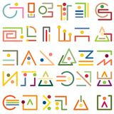 A set of modern abstract symbols from simple graphic elements. A set of simple modern symbols from lines in the form of hieroglyphs or cipher Stock Illustration