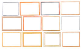 Set of simple modern wooden picture frames Royalty Free Stock Photos