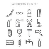 Set of simple monochromatic barbershop icons Royalty Free Stock Photo