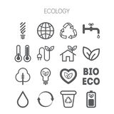 Set of simple monochromatic ecology icons Stock Photography