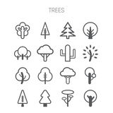 Set of simple monochromatic tree icons Stock Images