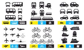 Set of Simple monochromatic vehicle and transport related icons. Bus, train, avto, airplane, bicycle, ship, ferry. For your design. Or application. Vector royalty free illustration